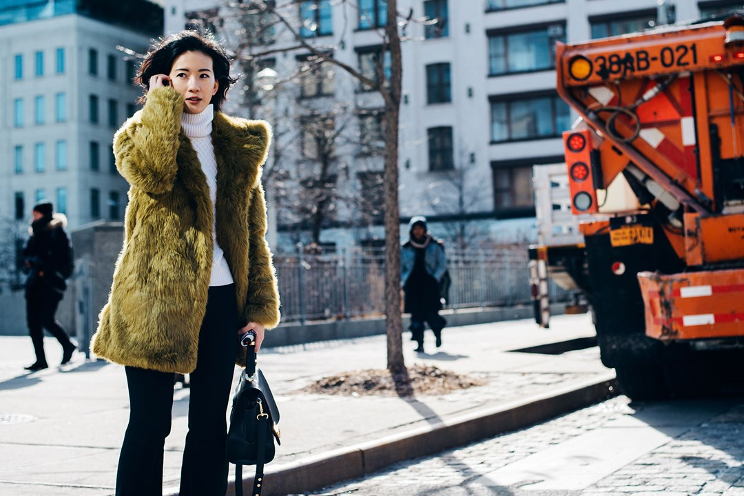fashion, look, ootd, outfit, green faux fur jacket