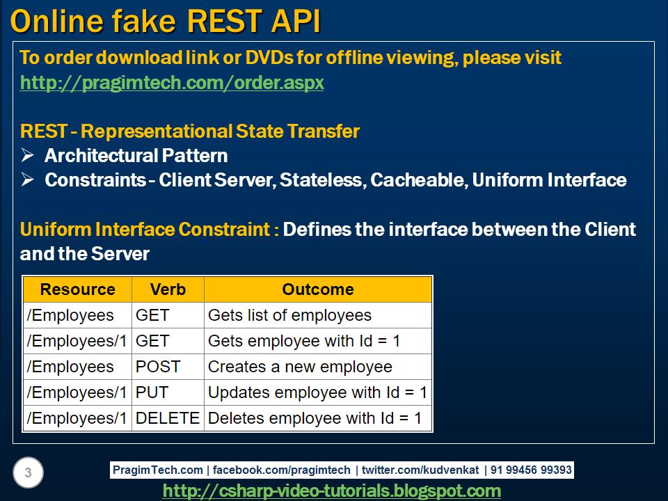 Sql server,  net and c# video tutorial: Online fake REST API