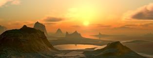 montagne al tramonto con lago