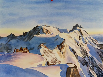 aquarelles JP Wisniewski aquarelle aiguille du midi original watercolor painting french Alps