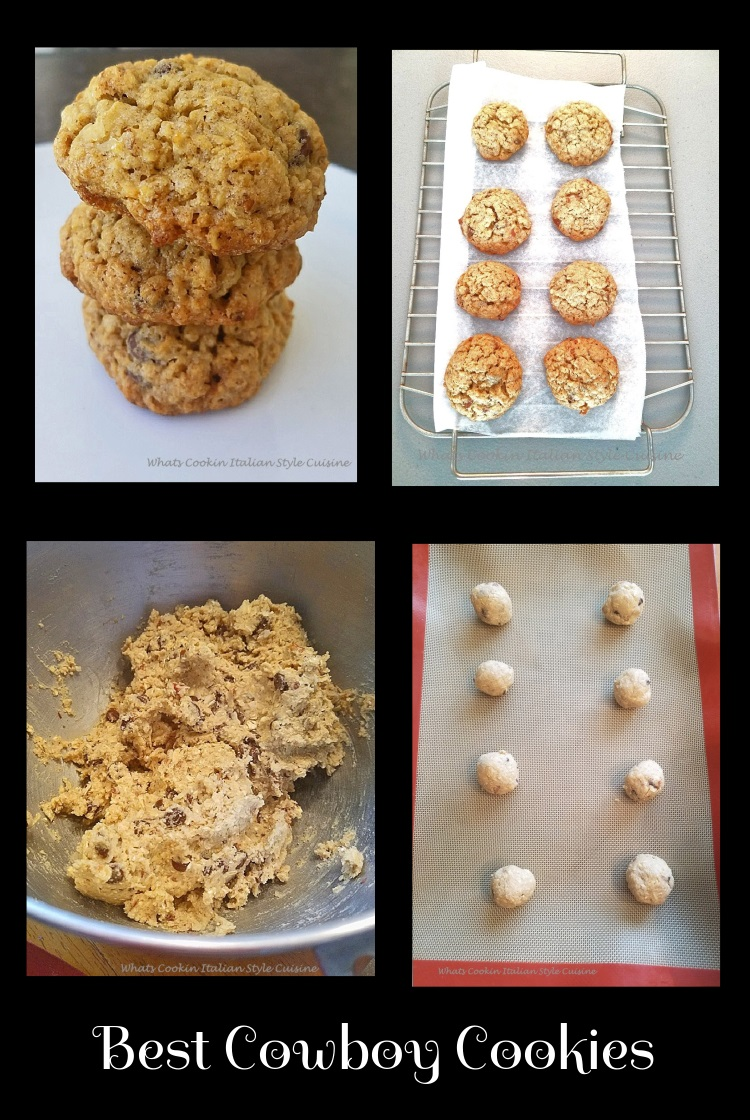 this is a cowboy cookie dough and the best cowboy cookies loaded with coconut, nuts, chocolate chips, buttery flavored stacked three on top of each other on a white plate. These cookies are famous all over the web sometimes called everything cookies, rock cookies, oatmeal loaded cookies, loaded cookies or cowboy cookies.
