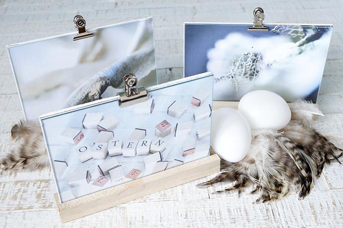 3 Holzaufsteller mit Bildern in Glasrahmen, 2 Eier und Federn