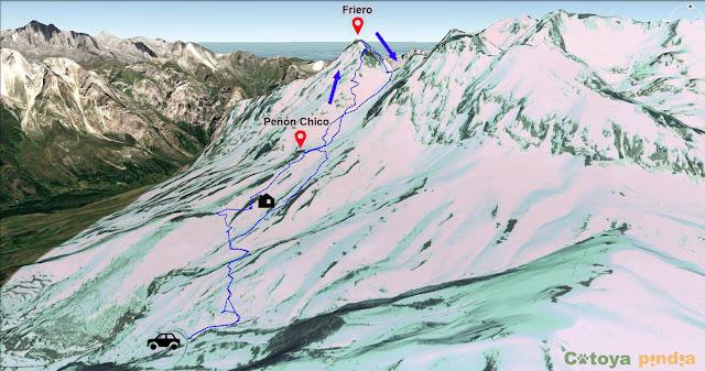 Ruta señalizada sobre el mapa de la ascensión a la Torre del Friero en Picos de Europa