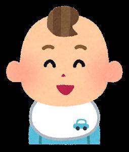 赤ちゃんの表情のイラスト(男・笑った顔)