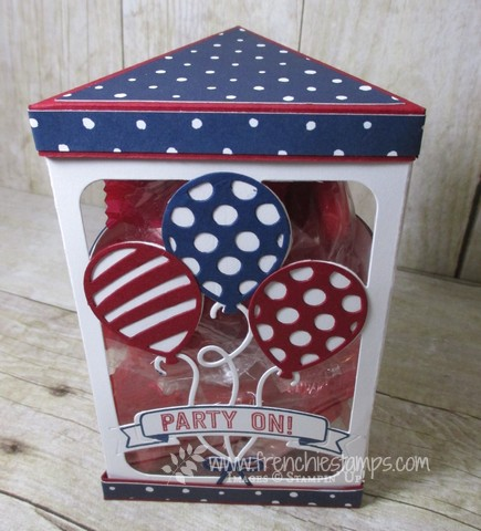 "Window Box, Triangle Box, Balloon Adventure, Balloon Pop Up Thinlits, Stampin""up! Frenchiestamps live"