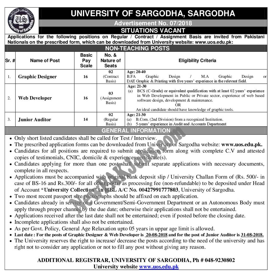 University of Sargodha (2018) Jobs Advertisement No 07/2018