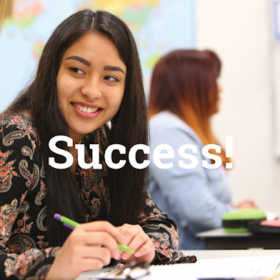 Image of a young latina student smiling, looking away from camera.  text: success