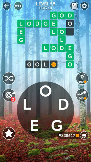Wordscapes Level 58 answers, cheats, solution for android and ios devices.