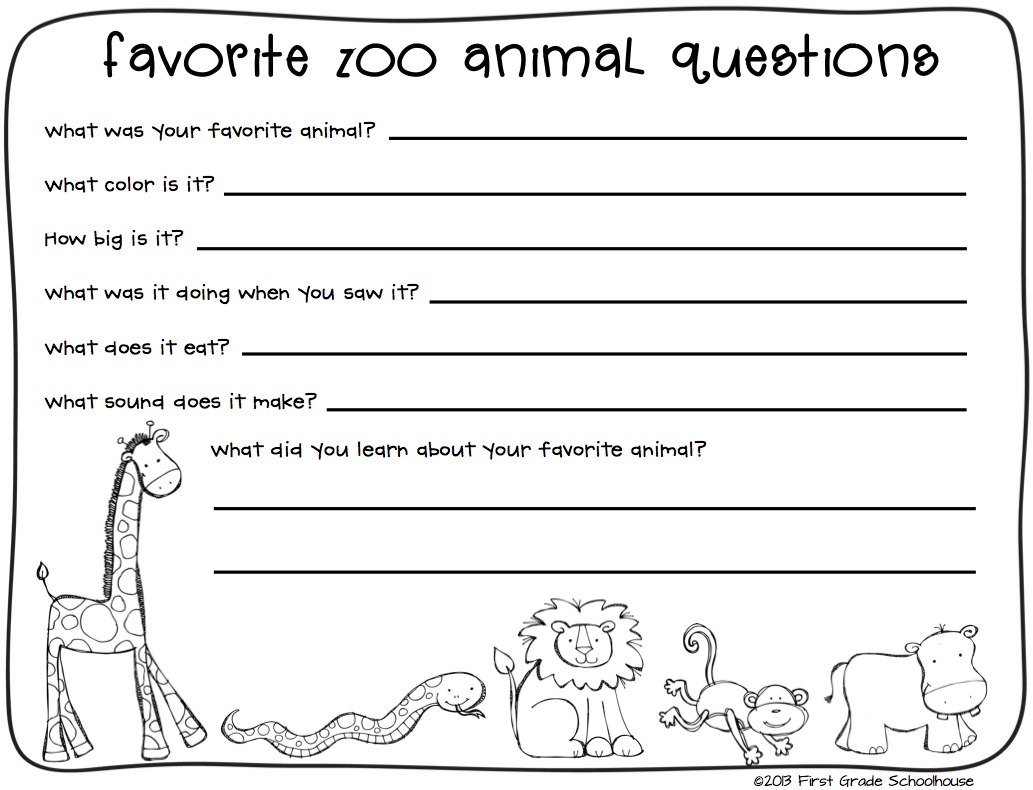 Zoo Animal Worksheets : First grade schoolhouse zoo animals writing and field trip