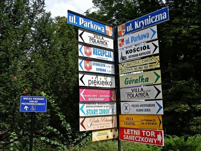 drogowskaz, ciekawe miejsca w Polanicy
