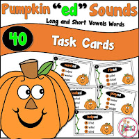 Pumpkin ed Task Cards includes 40 task cards to practice the sounds of ed