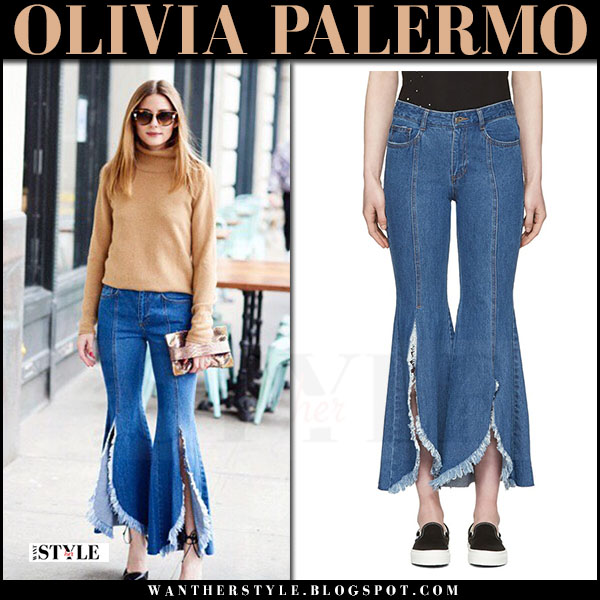 Olivia Palermo in camel sweater, blue front cut-off jeans sjyp what she wore april 2017