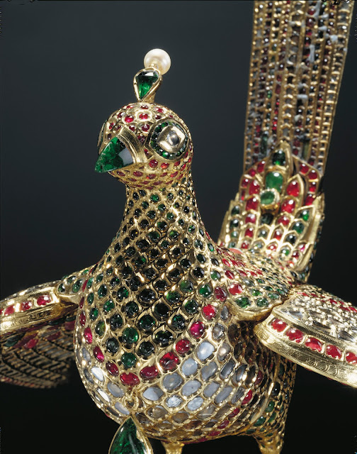 close-up of the huma bird from the canopy of the throne of tipu sultan