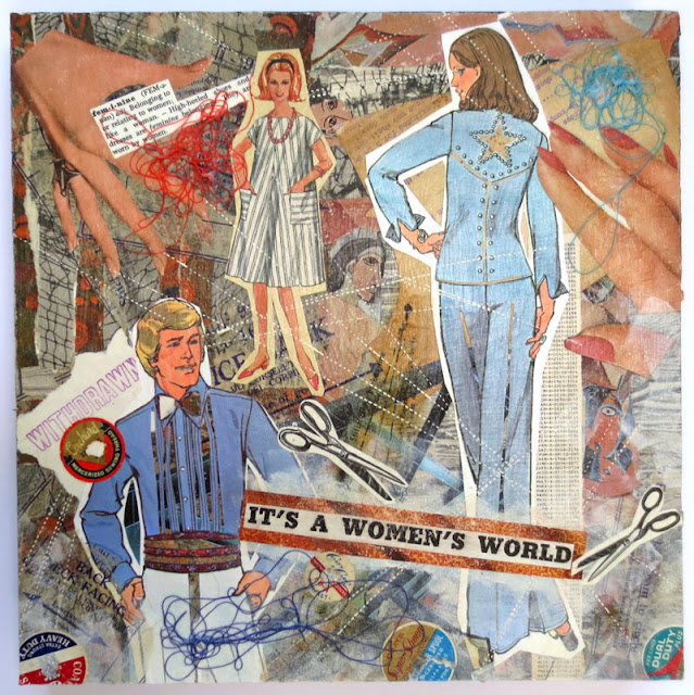 It's a women's world hand cut paper collage
