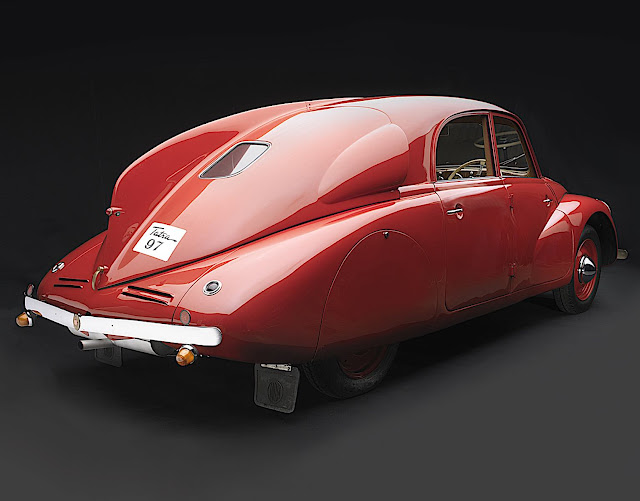 a 1938 Tatra in red, a color photograph
