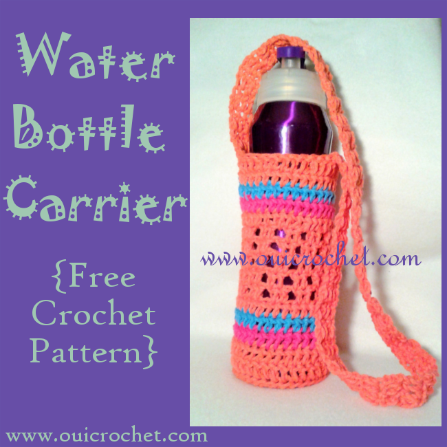 Crochet, Free Crochet Pattern, Crochet Water Bottle Carrier, Water Bottle Holder, Crochet Gifts, Crochet Accessories,