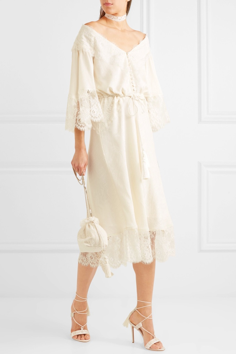 Etro Lace-Paneled Silk-Jacquard Midi Dress