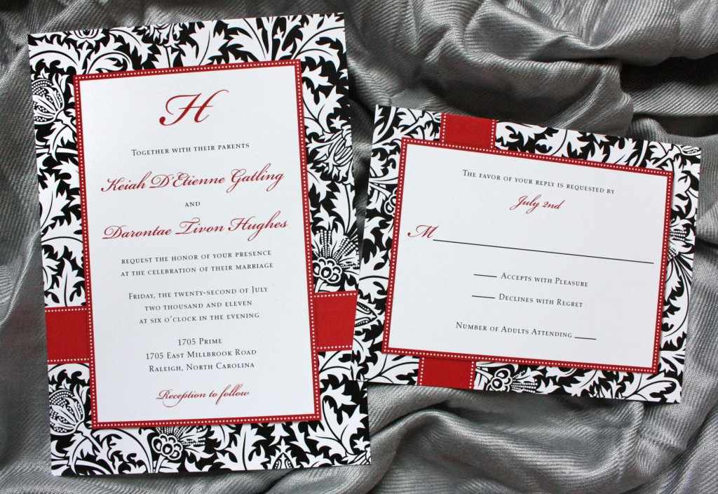 White And Red Wedding Invitations: Damask Wedding Invitations