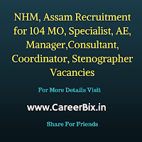 NHM, Assam Recruitment for 104 MO, Specialist, AE, Manager,Consultant, Coordinator, Stenographer Vacancies