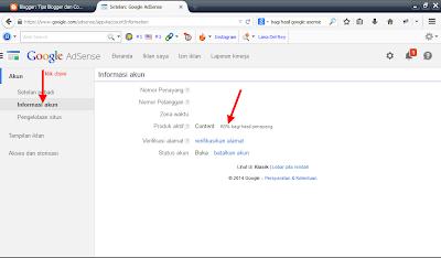 Cara melihat berapa persen yang kita dapat dari  google adsense