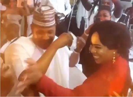 Saidi Balogun and Fathia Dancing At Mercy Aigbe's Wedding