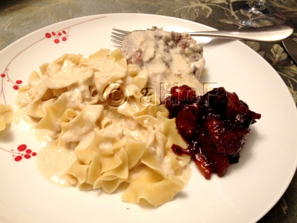 Creamy Pheasant Alfredo and noodles with a splash of color from the Fruit Compote