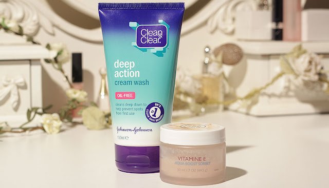 clean and clear deep action cream wash tube with tub of bodyshop vitamin e aquasorbet moisturiser