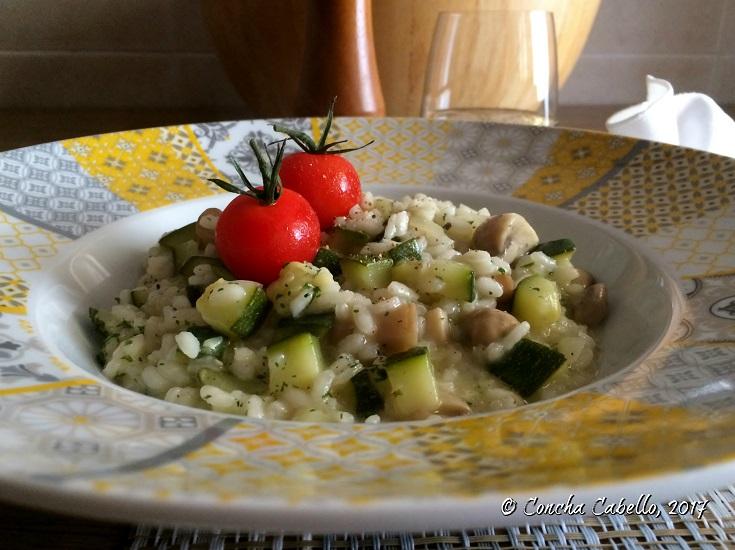 risotto-calabacín-champiñón-tomatitos