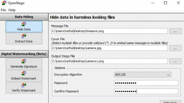 OpenStego : Configure the file settings