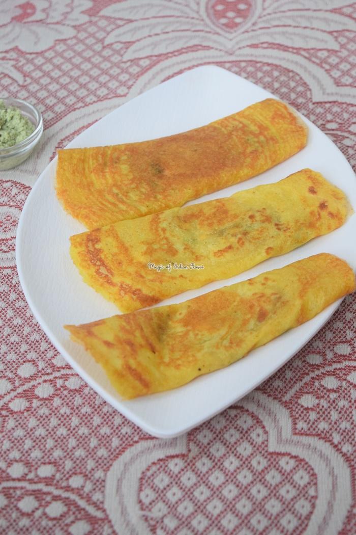 Moong Dal Chilla with Paneer Stuffing Recipe - मूंग दाल चीला पनीर की स्टफिंग वाला रेसिपी - Priya R - Magic of Indian Rasoi