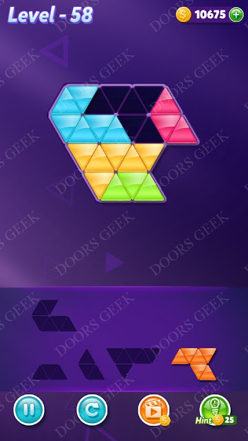 Block! Triangle Puzzle 5 Mania Level 58 Solution, Cheats, Walkthrough for Android, iPhone, iPad and iPod