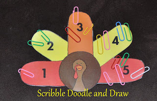 using paper clips to show number recognition on a turkey