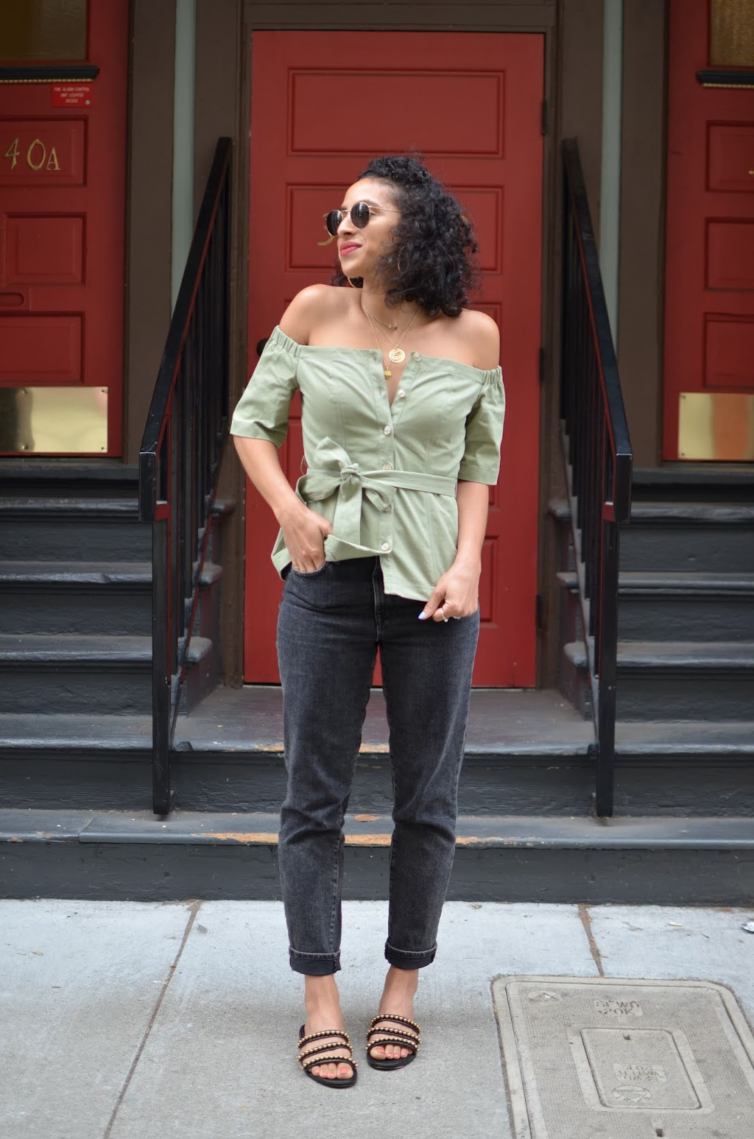 Banana Republic off the shoulder top with removable belt, Banana Republic, pre-fall style, short curly hair styles