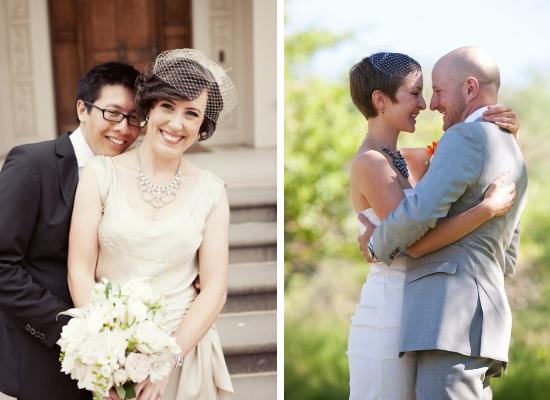brides with short hair, bridal birdcage veil
