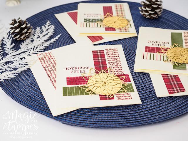 Cartes de Noël Stampin' Up! faites avec le papier design Ferme festive