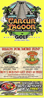 Scorecard from Cancun Lagoon Mayan Adventure Golf in Myrtle Beach. From Pat Sheridan / The Putting Penguin