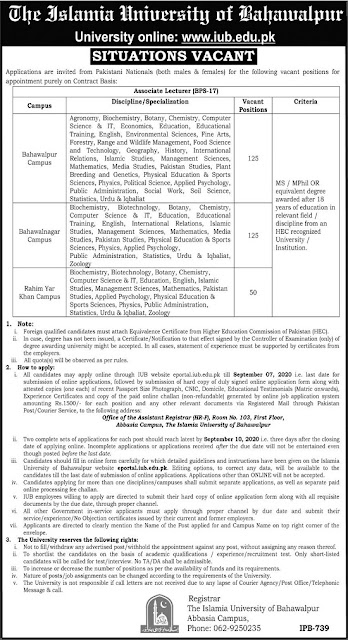 the-islamia-university-of-bahawalpur-associate-lecturer-jobs-apply-online