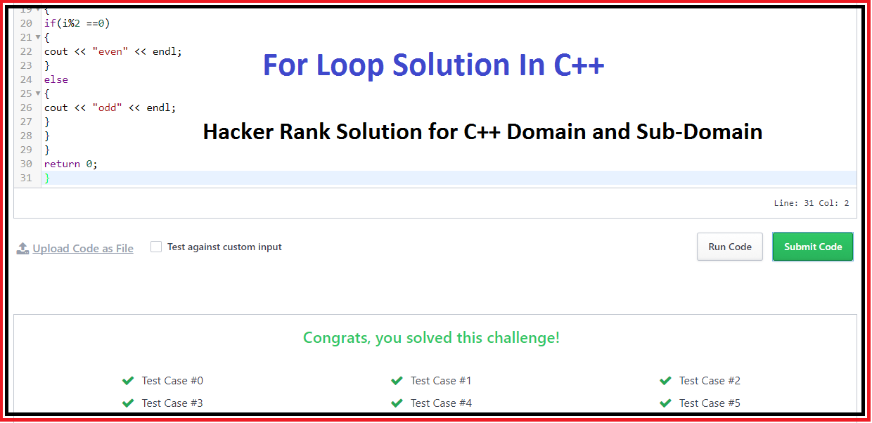 "Hacker Rank solution for "" For Loop """