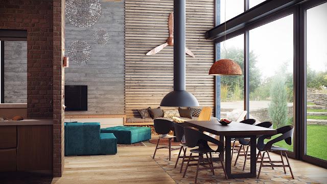Un loft industrial con techos suelos y muebles de madera for Arredamento stile industriale loft