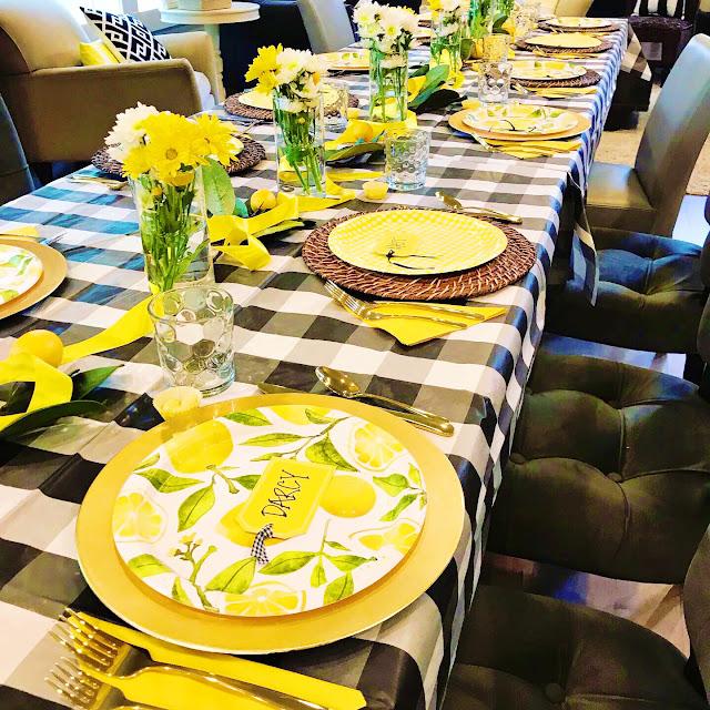 Lemon themed table @michellepaigeblogs.com