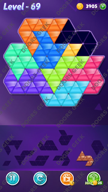 Block! Triangle Puzzle 9 Mania Level 69 Solution, Cheats, Walkthrough for Android, iPhone, iPad and iPod