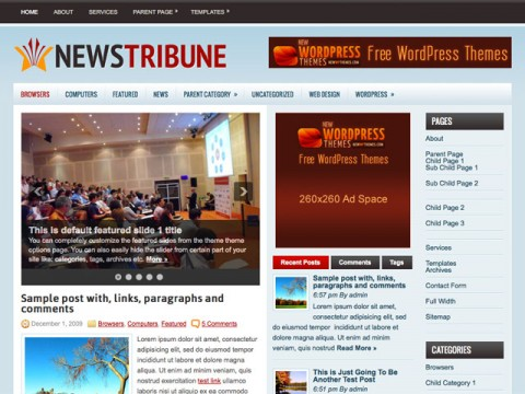 Free NewsTribune WordPress Theme