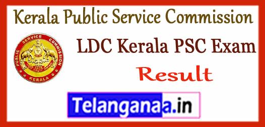Kerala PSC LDC Public Service Commission Lower Div Clerk Result 2017
