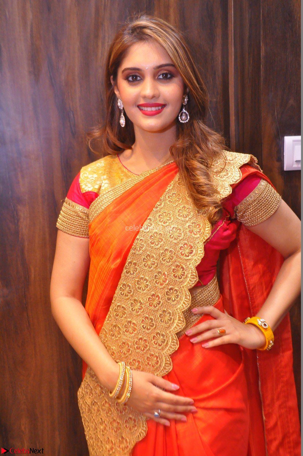surabhi looks stunning in saree at nakshatra fashion store launch at