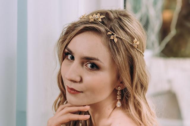 Złota opaska ślubna Flora Mini