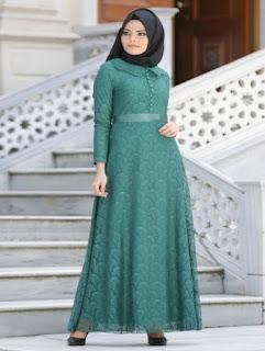 gaun pesta muslimah dari bahan brokat