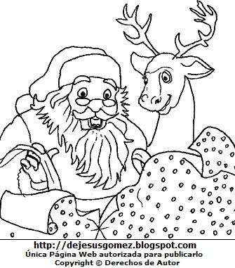 Dibujo de Papa Noel con su reno para colorear pintar imprimir. Dibujo hecho por Jesus Gómez