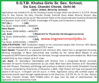 Applications are invited for TG Teacher, Band Master, Lab Asst, LDC Posts in SGTBK Girls Hr Sec School Chandni Chowk Delhi (Aided)