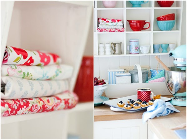 Red fabric collection and polka dot mug with little blueberry tarts