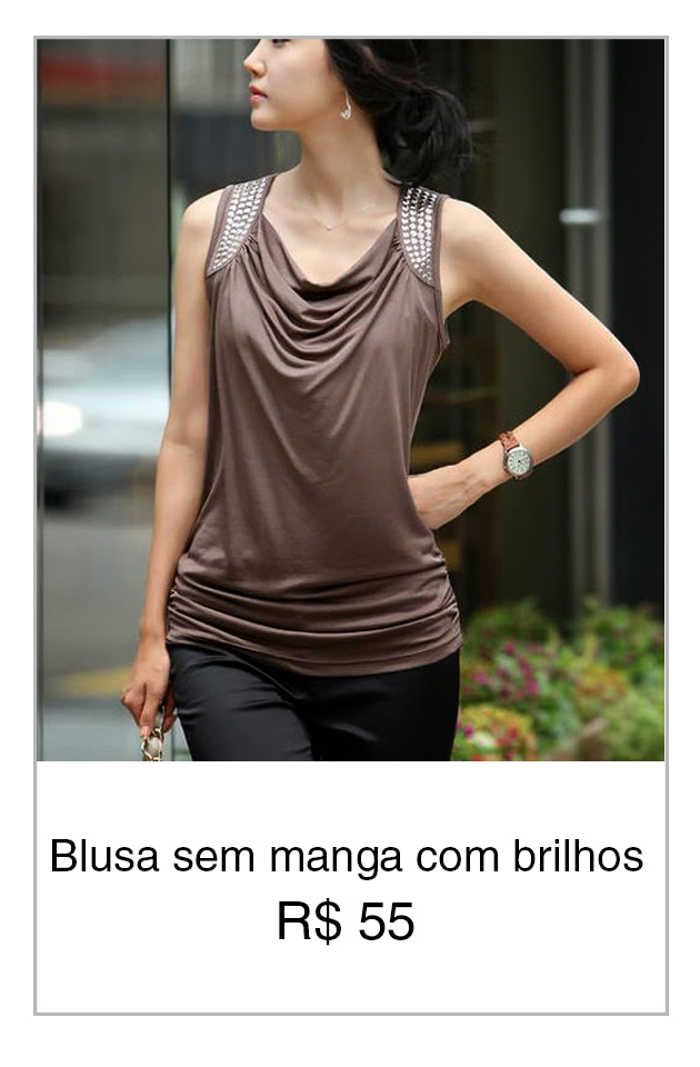 blusa sem manga com brilho